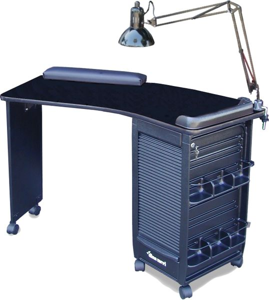 390-v Boomerang Nail Table with Curved Top